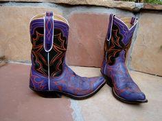 Purple & Black Leather Cowboy Boots