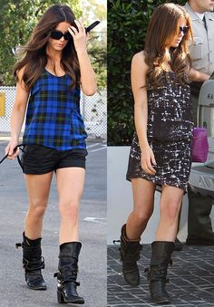 I LOVE her style - dressing the Fiorentini + Baker boots up or down...Always a fan of pairing shorts/skirts with boots.