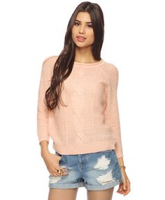 Peach cable knit sweater; loooove!