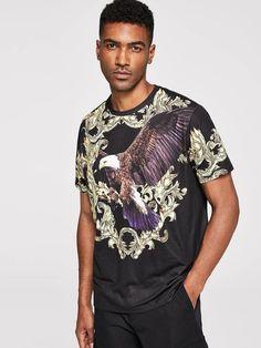 Trible Eagle Print Designer Mens  Cotton Top T Shirt Boys Casual Formal Gym Wear