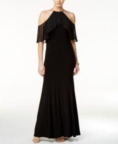 X by Xscape Petite Cold-Shoulder Halter Gown | macys.com