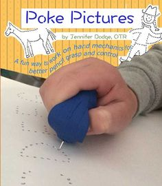 Poke Pictures - fun way to work on hand mechanics to improve pencil grasp and control. Hand drawn by Jennifer Dodge OTR. Fun and creative! Fine Motor Activities For Kids, Motor Skills Activities, Gross Motor Skills, Therapy Activities, Children Activities, Time Activities, Camping Activities, Daily Activities, Sensory Activities