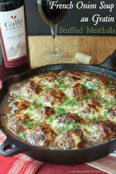 French Onion Soup au Gratin Stuffed Meatballs - caramelized onions and gooey cheese stuffed into meatballs