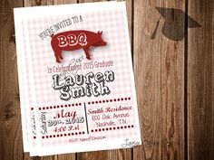 BBQ Graduation Party Invitation DIY by LaurynGraceInvites on Etsy