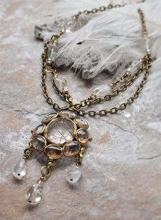 Rutilated quartz pendant necklace with textured by KotomiCreations, $190.00