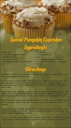 Spiced Pumpkin Cupcakes thanksgiving recipes thanksgiving recipes easy recipes dinner recipes holiday recipes instructions cooking ingredients recipe