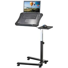 Tatkraft Joy Portable Adjustable Folding Laptop Stand Table Black * Read  More At The Image Link