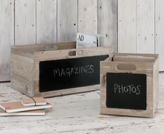 Our Pomme storage boxes are not only made from lovely reclaimed wood they also have a nifty chalkboard so you'll never forget what's in them.