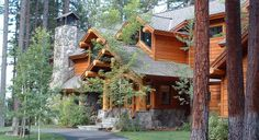 log cabin entrances | Log Accent Cabin: This rustic lodge style home has the feel of a log ...
