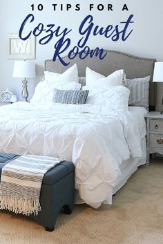 Affordable ideas to make your guest feel right at home - 10 Tips for a cozy guest room, my guest would never leave! 10 must haves for a cozy guest room Make your guest feel right at home with the cozy comforts of fresh bedding, towels and toiletries! Cozy Bedroom, Bedroom Storage, Trendy Bedroom, Dream Bedroom, Guest Room Decor, Spare Bedroom Decor, Guest Bedroom Colors, Guest Room Furniture Ideas, Guest Room Bedding Ideas