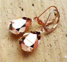 Rose Gold Earrings Swarovski Crystal Rhinestone Pear by JBMDesigns