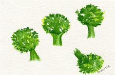Broccoli Florets watercolor painting original by SharonFosterArt