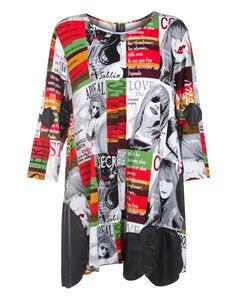 Escaladya A-Linien-Kleid mit Allover-Print  in Weiß / Bunt