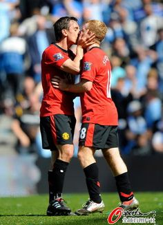 "Gary Neville & Paul Scholes- When Fergie uttered them to ""get stuck in!"" he didn't mean for this. Great image lol"