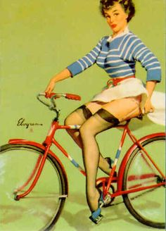 Image gallery for the vintage pinup art of Gil Elvgren (gallery 6 of Pin Up Vintage, Velo Vintage, Photo Vintage, Retro Pin Up, Vintage Bikes, Vintage Art, Vintage Style, Retro Ads, Vintage Graphic