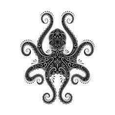 Intricate Dark Octopus by jeffbartels - Bobber-Sattel - Octopus Drawing, Octopus Tattoo Design, Octopus Tattoos, Octopus Art, Tattoo Designs, Tattoos Mandala, Tattoos Geometric, Tribal Tattoos, Squid Tattoo