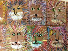 LeRoy Neiman inspired lions | Art Lessons