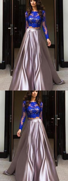 Two Piece Prom Dresses Scoop Sweep Train Ball Gown Satin Long Prom Dress Vestidos Elegant Dresses Classy, Classy Prom Dresses, Simple Prom Dress, Prom Dresses For Teens, Unique Prom Dresses, Classy Dress, Cheap Dresses, Nice Dresses, Classy Gowns