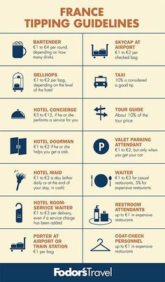 France tipping guide by Fodor's Travel.