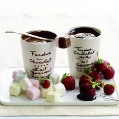 Chocolate Fondue For Two -This would be so sweet as a post dinner dessert, back home. With a bottle of red wine or dessert wine? #valentinesday