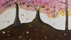 Pink blossom trees Hand Painting Art, Acrylic Painting Canvas, Pink Blossom Tree, Paint Types, Custom Paint, Hand Painted, Artwork, Art Work, Work Of Art