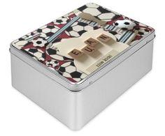 Tin Box, personalised, football theme, handmade, made to order, keepsake, memory box, biscuit box, customised gift, trinket box, storage box