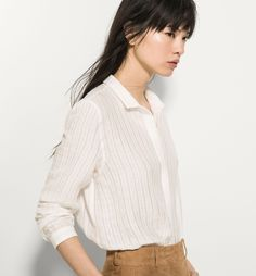 STRIPED TEXTURED WEAVE SHIRT