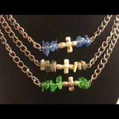 """Cross necklace Handmade approximately 21"""" long three different colors gray, blue or green. Jewelry Necklaces"""