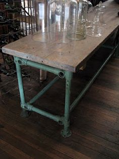 The Drill Hall Emporium - French industrial table