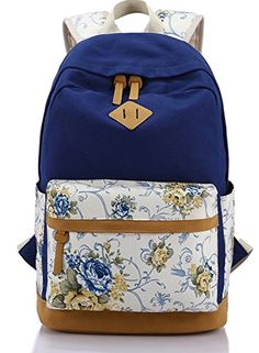 ZOORON Flower Printing Female Canvas Backpack Women Korean Style Leisure Travel  Backpack Campus Students Backpack For Girls e9191cbeac