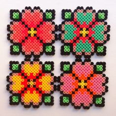 Floral coasters hama beads - IMYBY