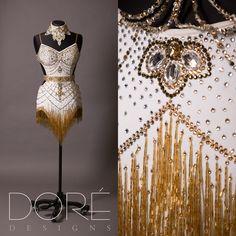 White Latin w/ Large Crystal Sew Ons, Gold Belt, Appliqued & Stoned Choker & Gold Beaded Fringe Skirt