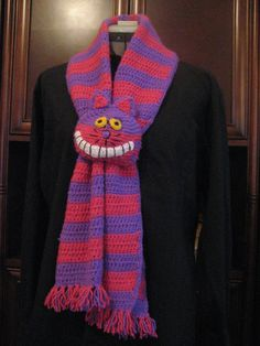 Crocheted Cheshire Cat Scarf in Red Heart Shimmer Yarn by Ruth Waits