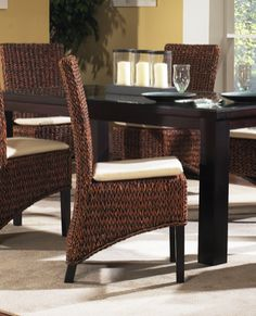 Seagrass Armless Dining Chair by Wicker Paradise.  http://blog.wickerparadise.com/post/140759198468/seagrass-armless-dining-chair-by-wicker-paradise