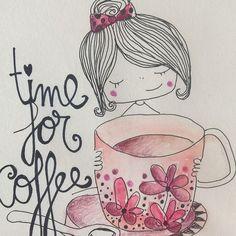 Un café bien cagado y a empezar la semana... Atención, lo que Bien empieza, bien acaba   #lunes #monday #café #coffee #live #mañanaspositivas #like #taza #cup #niña #girl #nice #live #cute #timeforcoffee #love #illustration #ilustración #arte #art #draw #drawing