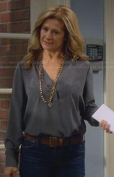 Vanessa's grey split-neck blouse on Last Man Standing.  Outfit Details: http://wornontv.net/29680/ #LastManStanding