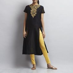 Black Front Slit Chanderi Kurti with Gold Aari Zari Embroidered Neckline by Sonal Kabra