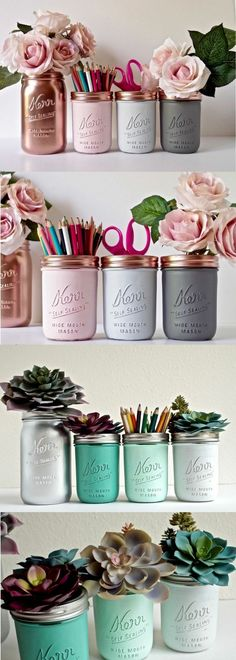 Ideas For Diy Projects Decoration Bedrooms Mason Jars Vintage Mason Jars, Rustic Mason Jars, Painted Mason Jars, Painted Bottles, Color Mason Jars, Spray Paint Mason Jars, Mason Jar Vases, Mason Jar Projects, Mason Jar Crafts