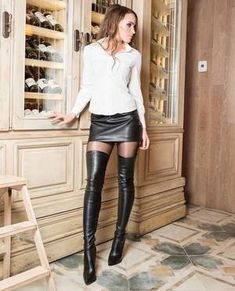 Pin on hot women Thigh High Boots, High Heel Boots, Over The Knee Boots, Heeled Boots, Sexy Boots, Cool Boots, High Leather Boots, Leather Skirt, Leather Fashion