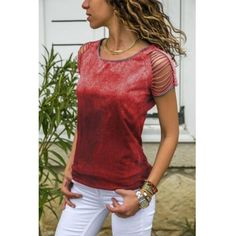 US$ 22.61 - 2019 Spring Round Neck Hollow Out Plain T-shirts - www.ebuytide.com Shirts & Tops, Sexy Shirts, Casual T Shirts, Casual Outfits, Cut Shirts, Casual Tops For Women, Blouses For Women, T Shirts For Women, Trendy Tops