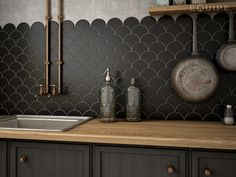 Black scale tiles for kitchens. Copper pipes for your kitchen design. Source by Kitchen Home Decor Kitchen, Kitchen Interior, Kitchen Design, Modern Kitchen Cabinets, Kitchen Backsplash, Backsplash Ideas, Copper Splashback Kitchen, Backsplash Design, Kitchen Wall Tiles