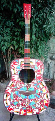 Mosaic Guitar Sculpture With Beaded Strings by ArtExposureArizona, $325.00