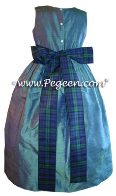 Hazel blue silk flower girl dress with Scottish Plaid sash (ribbon). Pegeen Classics Style 398 in over 200 colors from sizes infant through plus size girls.