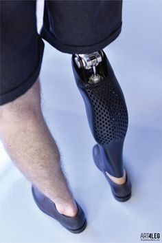 Customized 3D Printed prosthetic leg cover.https://www.facebook.com/ART4LEGRefined shape of the cover beautifully captures the form of athletic leg muscles. The shape together with the perforated surface perfectly expresses the personality and fits to…