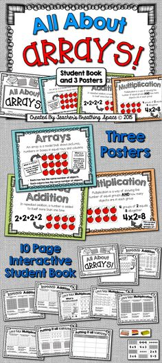 All About Arrays --- 3 Posters and 10-Page Interactive Student Book! Great for introducing or reviewing multiplication!