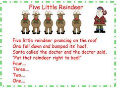 Five Little Reindeer Song and Words Freebie - Pinned by @PediaStaff – Please visit http://ht.ly/63sNt for all (hundreds of) our pediatric therapy pins