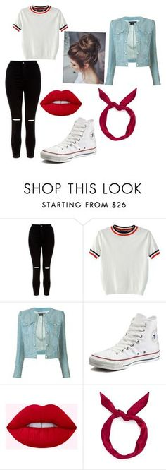 """Outfit"" by verrethannah on Polyvore featuring New Look, WithChic, Balmain, Converse and yunotme"