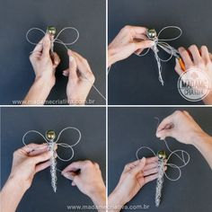 How to make a dragonfly using wire - Tutorial with pictures on the website -Madame Criativa - www.madamecriativa.com.br