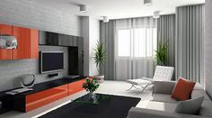 Need new drapes fro the living-room. Love the cool tone with the orange pop and the ceiling to floor drop.