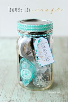 Loves To Craft Mason Jar Gift for the crafter in your life. This jar is filled with fun craft supplies! #masonjar #giftidea